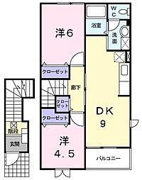 千葉県茂原市新小轡の賃貸アパートの間取り