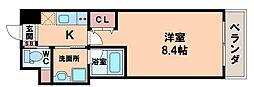 RA北田辺 4階1Kの間取り