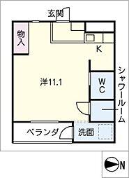 nuts imaike 5階ワンルームの間取り
