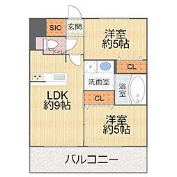 エステムプラザ京橋3リベルタ 2階2DKの間取り