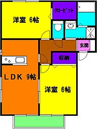 静岡県浜松市南区三和町の賃貸アパートの間取り