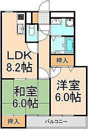 クリスタルSUN梅島[2階]の間取り