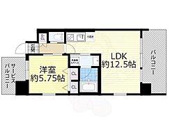 阪急宝塚本線 豊中駅 徒歩4分の賃貸マンション 7階1LDKの間取り