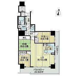 ザ・ライオンズ定禅寺タワー 11階3LDKの間取り