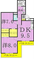 アルファタウン天王台[E102号室]の間取り