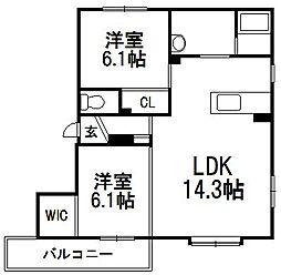 北海道札幌市南区澄川六条9丁目の賃貸アパートの間取り
