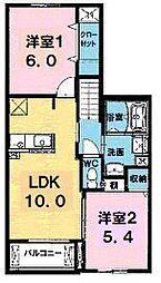 香川県丸亀市田村町の賃貸アパートの間取り