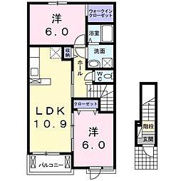 サンライズヒル 2階2LDKの間取り