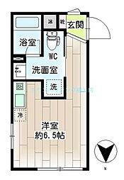 リチェンシア横浜三ッ沢 2階ワンルームの間取り