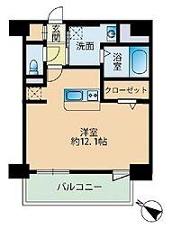 福岡市地下鉄七隈線 薬院大通駅 徒歩3分の賃貸マンション 11階ワンルームの間取り