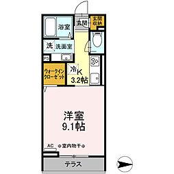 小田急小田原線 本厚木駅 徒歩8分の賃貸アパート 1階1Kの間取り