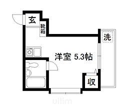 JR奈良線 東福寺駅 徒歩4分の賃貸マンション 2階ワンルームの間取り