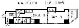 プレーリー四天王寺[3階]の間取り