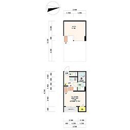 愛知県名古屋市瑞穂区神前町2丁目の賃貸アパートの間取り