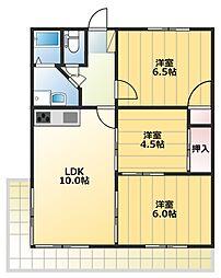 木瀬川リバーサイドマンション[101号室]の間取り