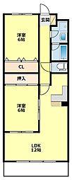 愛知県豊田市桝塚西町南山の賃貸マンションの間取り
