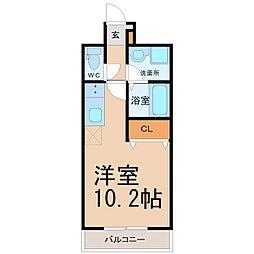 名古屋市営桜通線 野並駅 徒歩2分の賃貸マンション 6階ワンルームの間取り