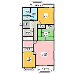 愛知県名古屋市千種区丘上町2丁目の賃貸マンションの間取り