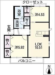 鶴城ハイツ 2階2LDKの間取り