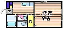 岡山県倉敷市粒浦の賃貸アパートの間取り