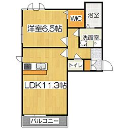 京都府京都市山科区厨子奥矢倉町の賃貸アパートの間取り