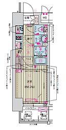 プレサンス天神橋筋六丁目ヴォワール 4階1Kの間取り