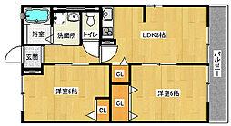 京都府京都市山科区大宅打明町の賃貸アパートの間取り