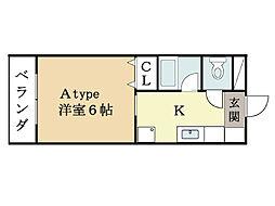 ハートフルマンション京田辺[2階]の間取り