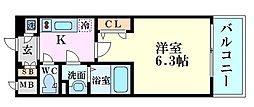 エスリード福島シティグランツ 6階1Kの間取り