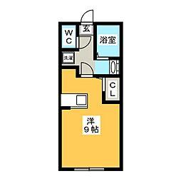 シエロ湘南 1階ワンルームの間取り