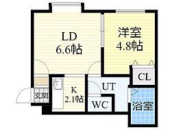 北海道札幌市北区篠路2条3丁目の賃貸アパートの間取り