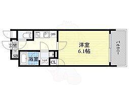 JR東西線 大阪天満宮駅 徒歩3分の賃貸マンション 6階1Kの間取り