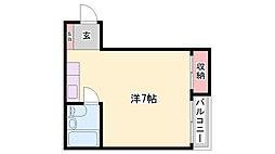 JR播但線 野里駅 徒歩19分の賃貸マンション 2階ワンルームの間取り