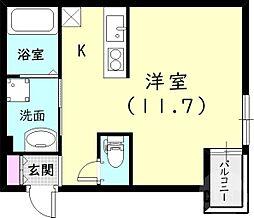 マークス尼崎 2階ワンルームの間取り