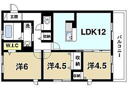 アンソレイユ山の辺 3階3LDKの間取り