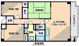 大阪府吹田市山田西3丁目の賃貸マンションの間取り