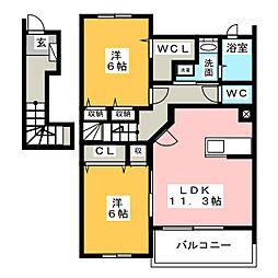 ブライトB[2階]の間取り