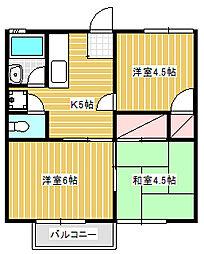 サニーハイツクリハラ[2階]の間取り
