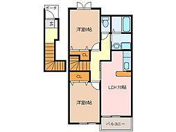三重県松阪市小片野町の賃貸アパートの間取り