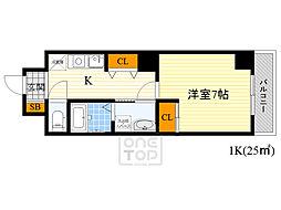 Osaka Metro谷町線 千林大宮駅 徒歩3分の賃貸マンション 5階1Kの間取り