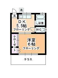 奥冨荘[101号室]の間取り
