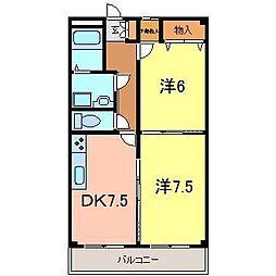 ゴールドマンションII[436号室]の間取り