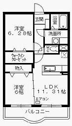 広島県東広島市西条町土与丸の賃貸マンションの間取り