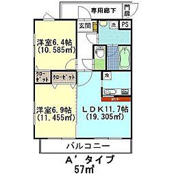 スクエア豊田ひがし台 ロッソ[105号室]の間取り