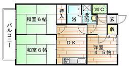福岡県宗像市田久5丁目の賃貸アパートの間取り