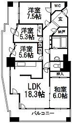 住友円山公園シティータワー[602号室]の間取り