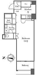 リバーシティ21イーストタワーズII 32階1Kの間取り
