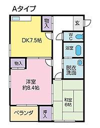 アップルハウス飯野1号館[2-D号室]の間取り