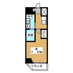 ベルグレードKAMEIDO 8階1Kの間取り