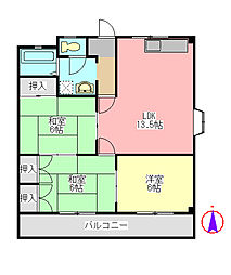 ダーリングシャトー1151[2階]の間取り